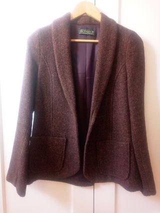 Americana blazer tweed jaspeada marrón granate M