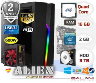PC Gaming Intel Quad Core 16GB 3000GB WIFI USB3.1