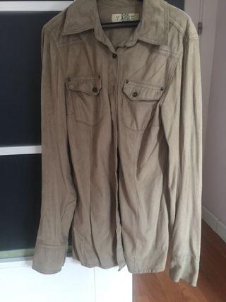 Camisa o sobre camisa de ante marrón talla s