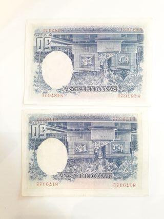 2 billetes 1935, 50 pesetas correlativos