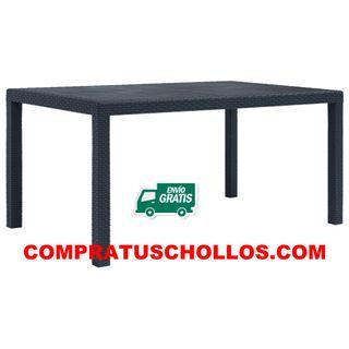 Mesa de jardín de plástico gris 150x90x72 cm