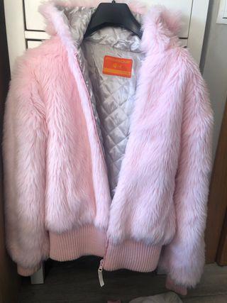 Chaqueta de pelo rosa pastel L