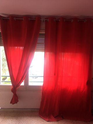 2 cortinas rojas perfecto estado
