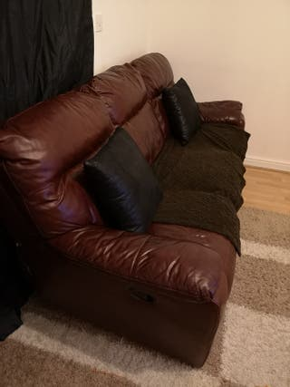 Real leather reclining 3 seater sofas ono