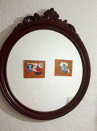 espejo de madera noble
