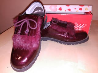 Zapatos niña blucher burdeos