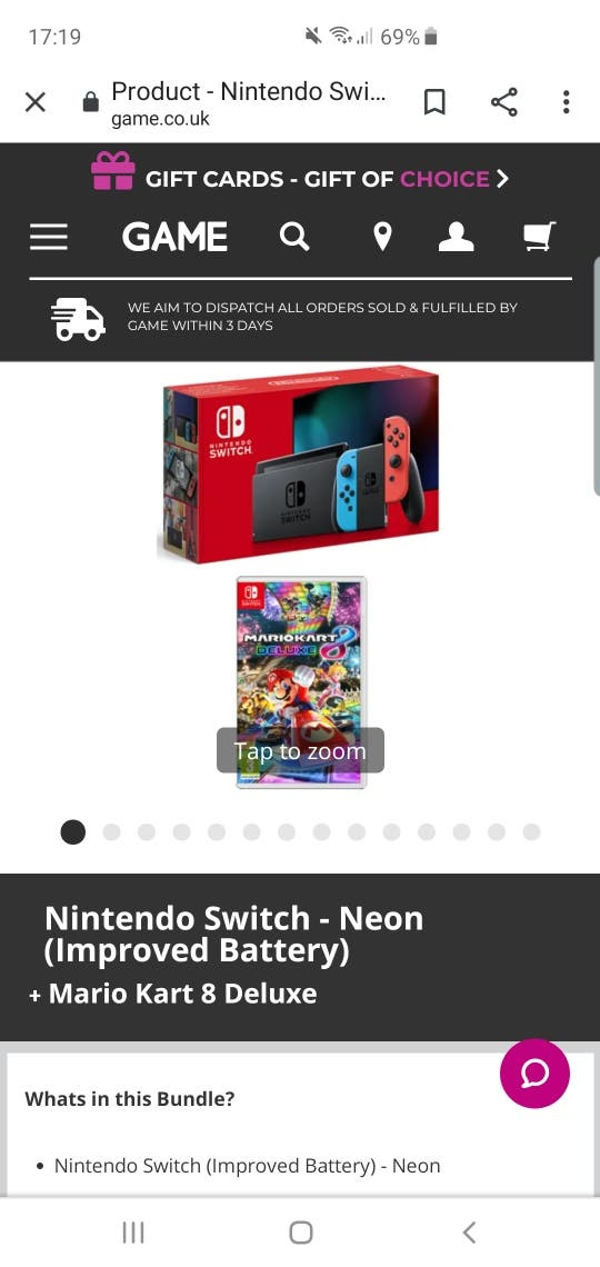 nintendo switch and game