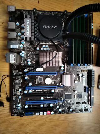 placa base + procesador + líquida + ram