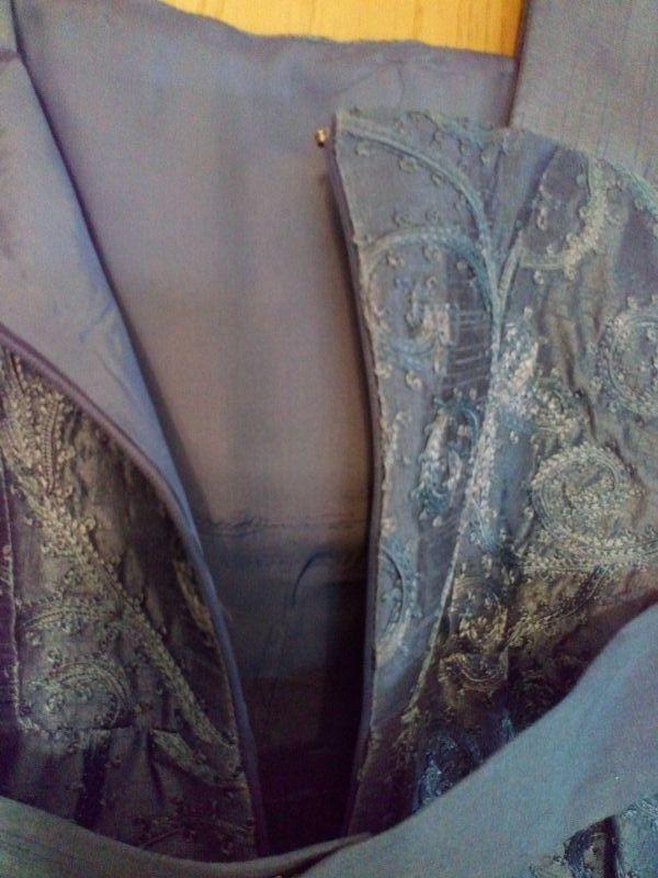 vestido mujer gris azulado+torerita a juego