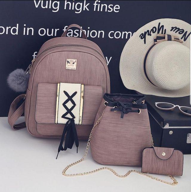 3pcs women backpack set.