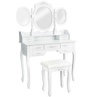 Mesa de Maquillaje 3 Espejos 7 Cajones y taburete