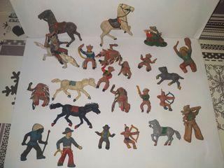 figuras indios y vaqueros antiguos pintados a mano