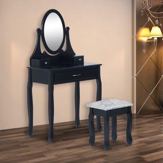 Tocador + 1 Taburete y Espejo Mesa Maquillaje