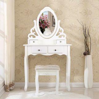 Mesa de Maquillaje Tocador + Taburete y Espejo