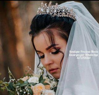 Corona de novia tiara de cristal diadema en plata
