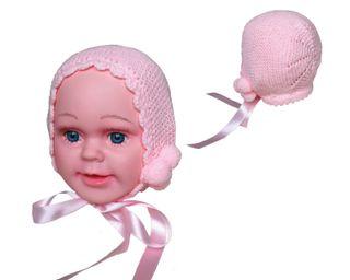 Capota lana bebé rosa 0-3 meses, nueva
