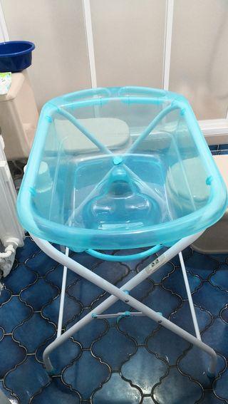 bañera bebé plegable y adaptador bañera