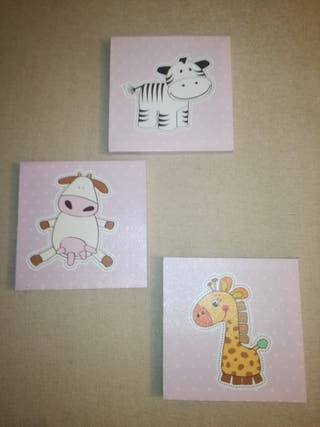 Tres cuadros infantiles 8x8cm