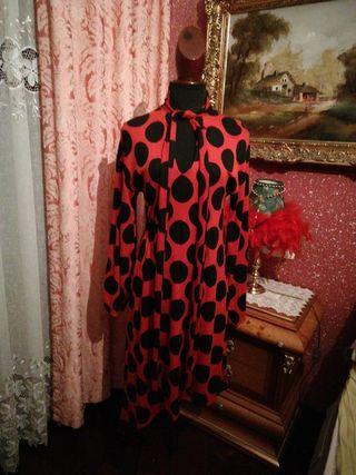 vestido rojo negro lunares talla S sevillana largo