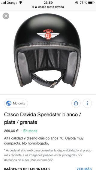 Casco Davida Speedster blanco plata granate