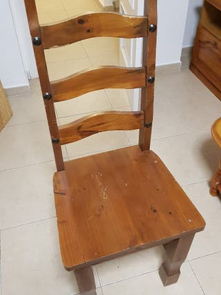 silla de madera sólida estilo rústico