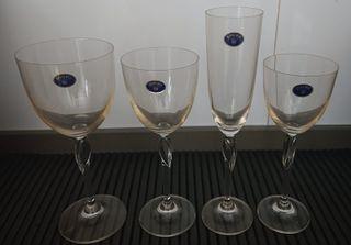 24 copas de cristal de bohemia