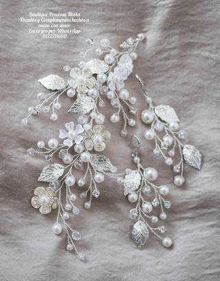 Tiara + Pendientes Artesanales en tono plata