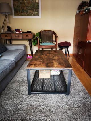 mesa de centro madera estilo industrial