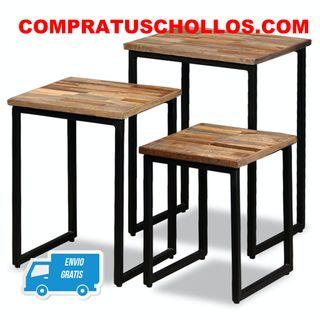 3 Mesas de centro apilables de madera