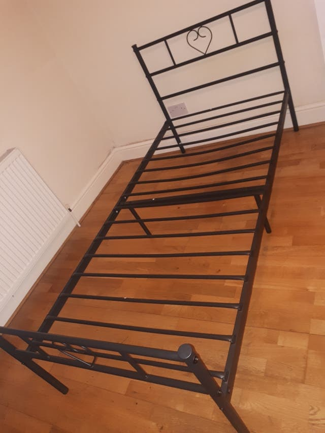 single mattress and metal frame