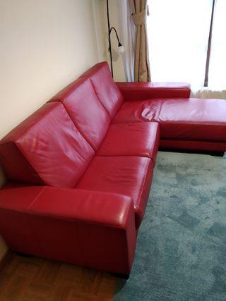 Sofá piel 3 plazas chaiselongue derecho