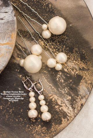 Juego de Joya : 3 Horquillas + Pendientes de perla