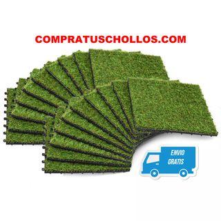 20 Azulejos con césped artificial 30x30 cm verde