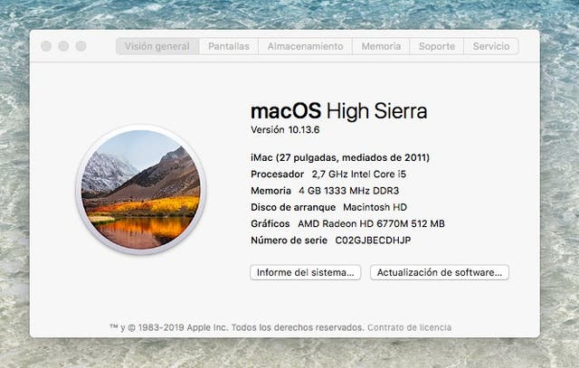 "Ordenador Apple iMac 27""/ i5"