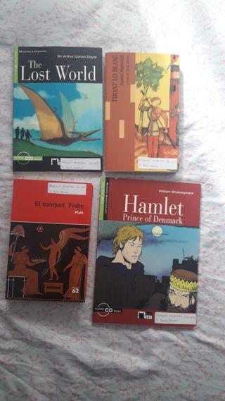 Libros de lectura de inglés y uno de Platón