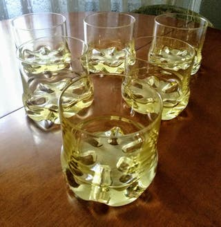 Juego de 6 vasos cristal color ámbar, cristalería