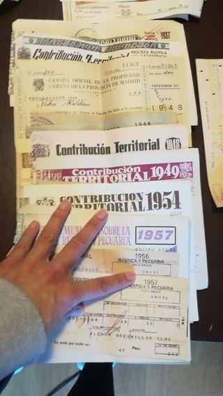Recibos de impuestos de años 30 a años 70