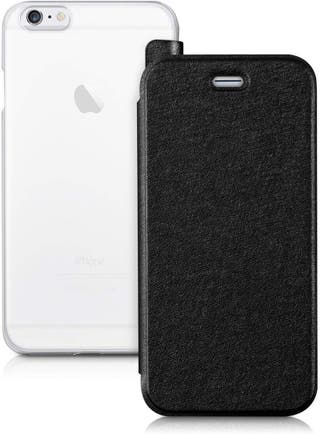 Funda iPhone6/6S trasera trasparente frontal negro