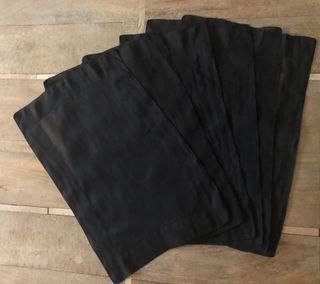 6 set de table en organdi coton noir 30,5 x 48 cm