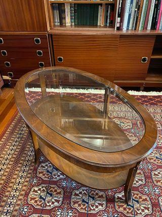 REBAJADO ! Mesa de centro en madera y cristal