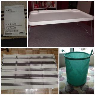 Alfombra, bandeja y cesto de la ropa Ikea