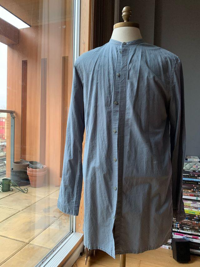 Helmut Lang mandarin collar blue shirt