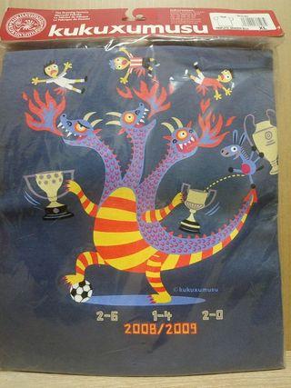 camiseta kukuxumusu triplete dragón barça