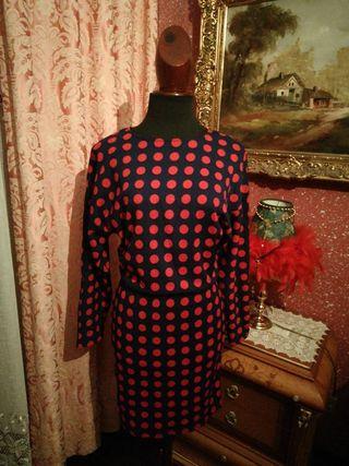vestido zara talla M rojo lunares azul marino