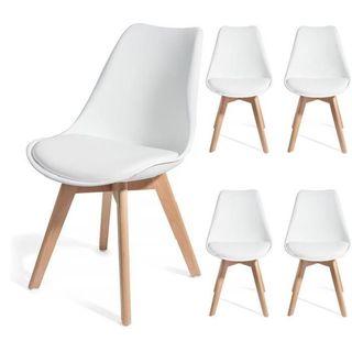 4 Sillas Blancas diseño escandinavo