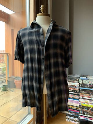 HELMUT LANG checked short sleeved grey shirt