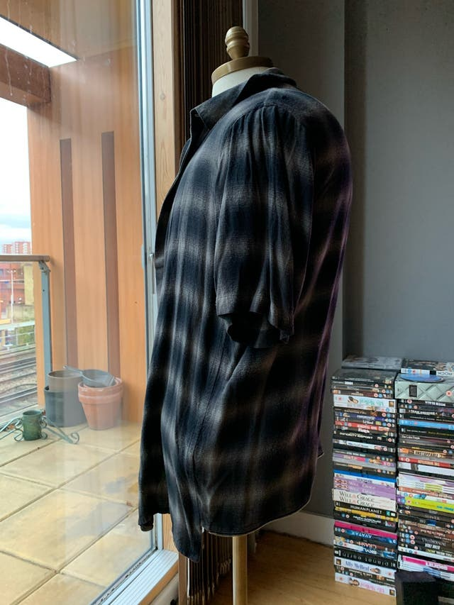 HELMUT LANG checked short sleeved grey shirt