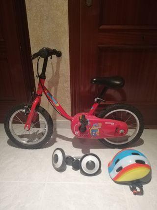 Bicicleta 14 pulgadas, decatlon +(ruedines/casco)