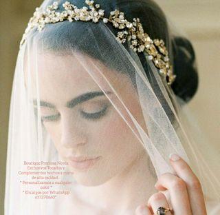 Tiara Joya en tono dorado tocado oro novia madrina