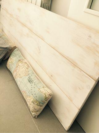 Cabezal capçal madera natural blanco decapado escandi